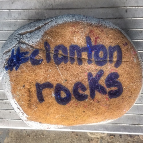 Painted Rock that says Clanton Rocks