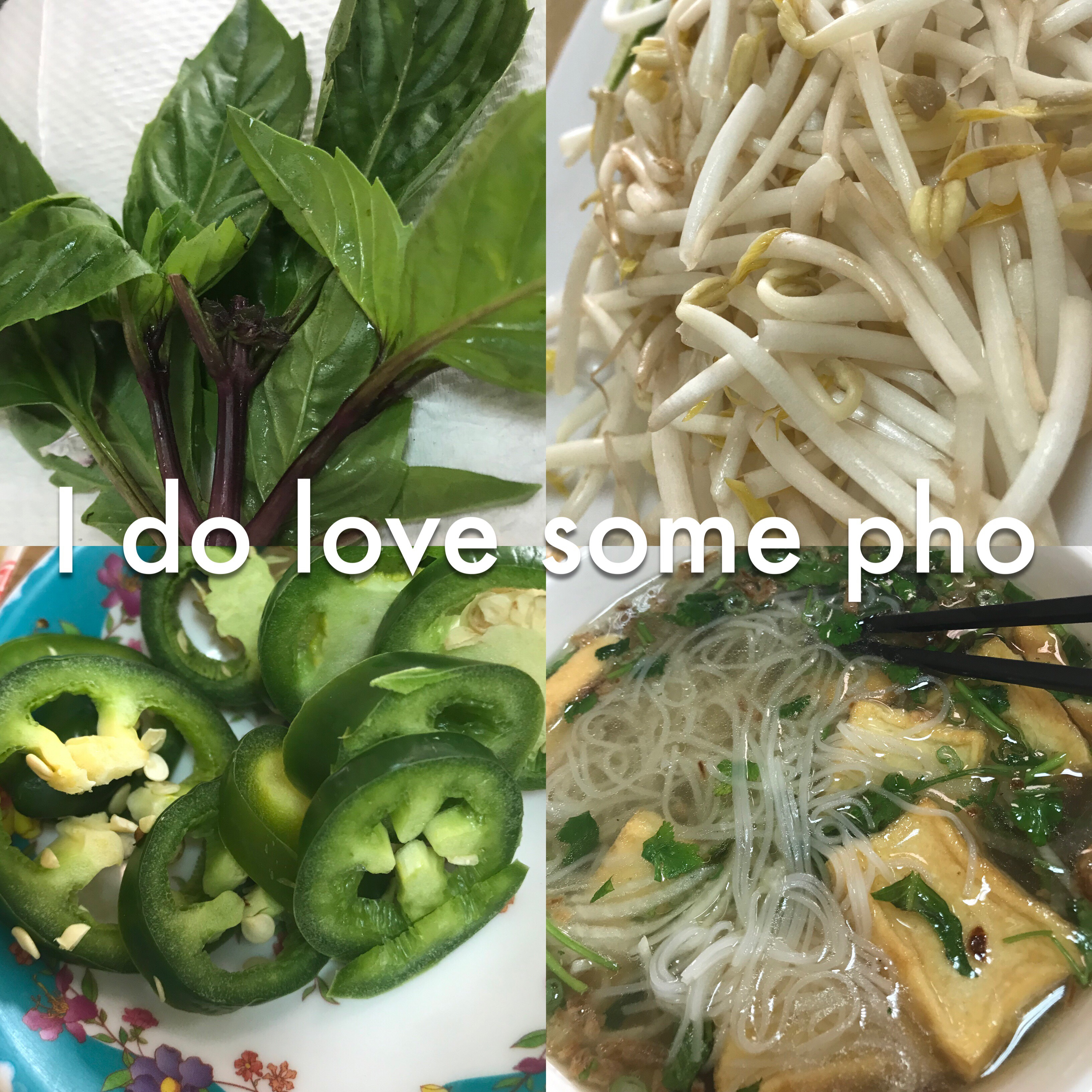 Pho and garnishes