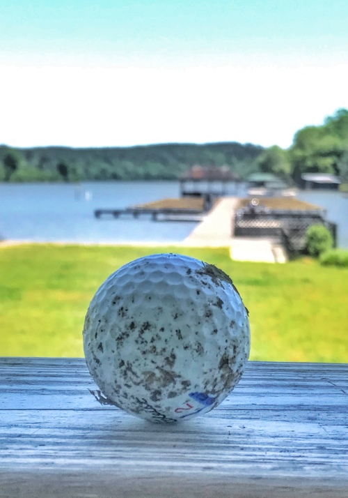 A dirty golf ball