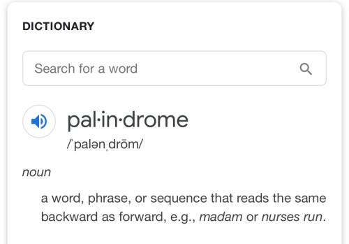 Definition of palindrome