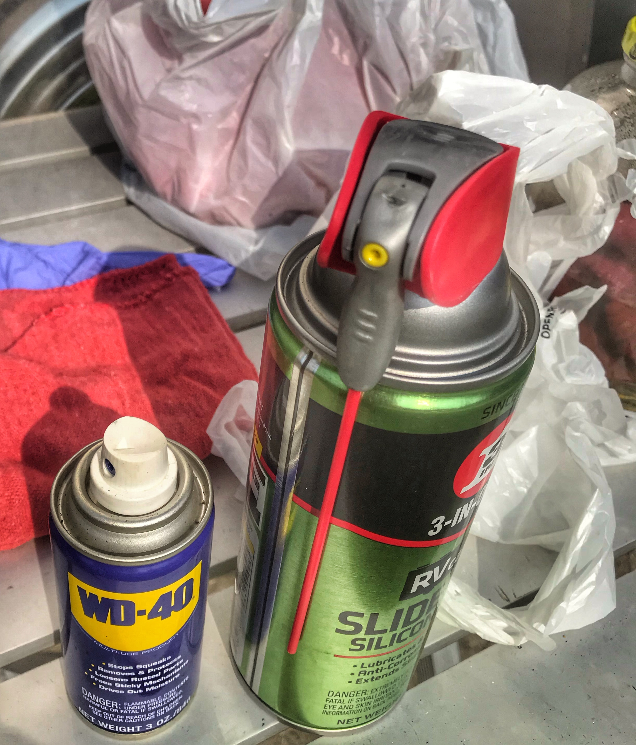 WD 40 & Silicon lubricant.