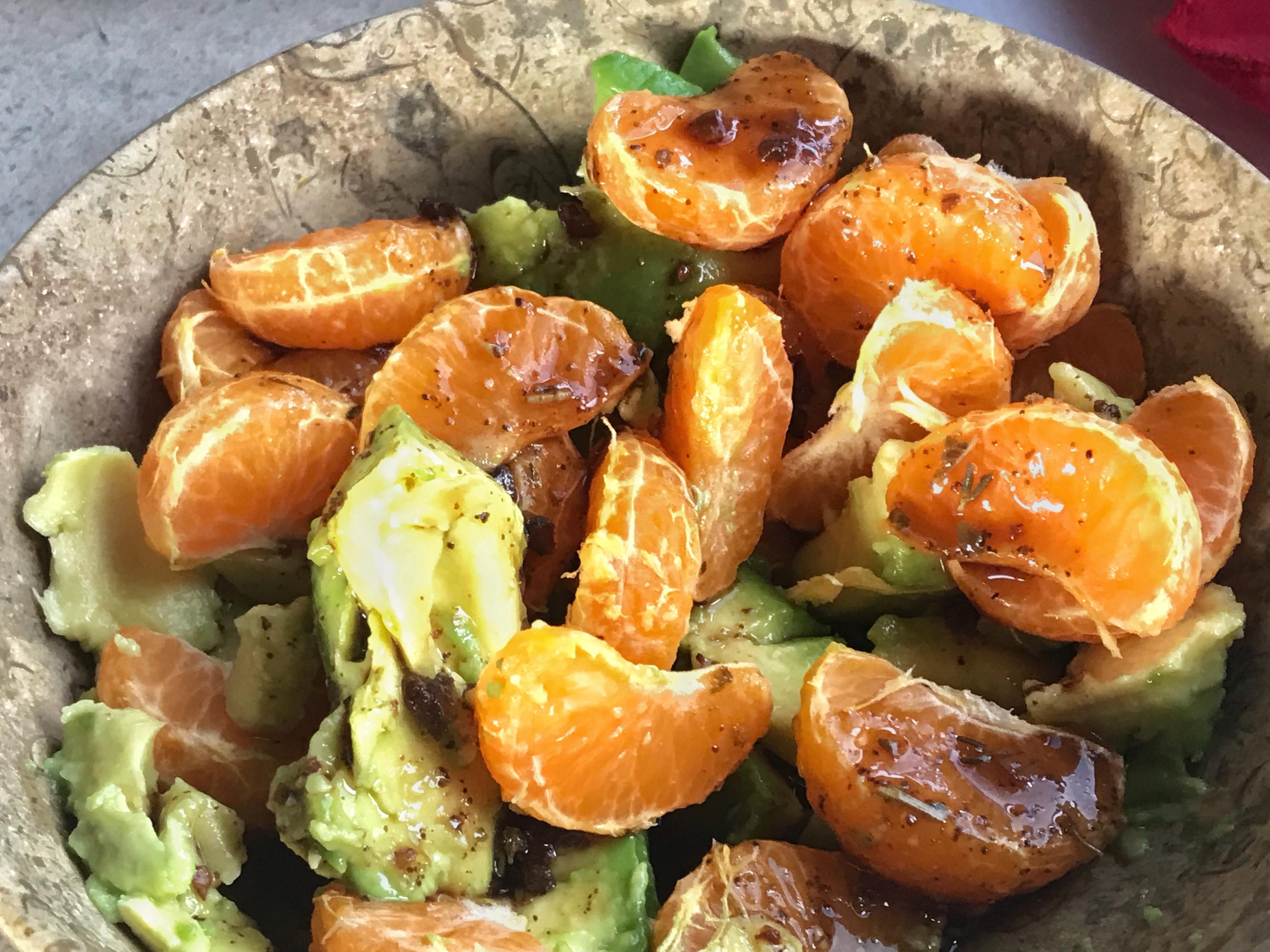 Mandarins and avocado tossed in basaltic vinaigrette.