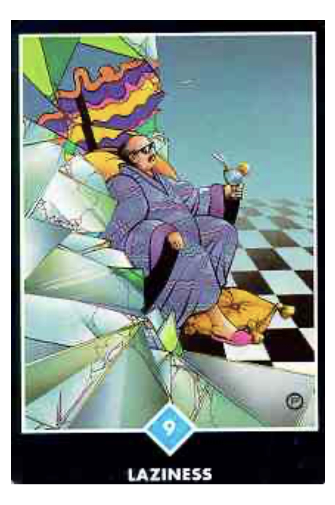 Osho Zen Tarot Laziness #9 of Water