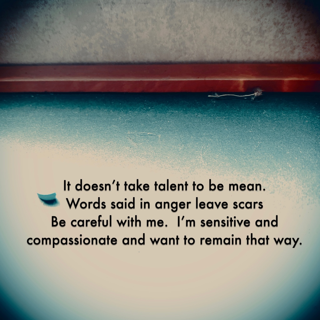 It doesn't take talent to be mean.  Words said in anger leave scars. I am sensitive and compassionate  and want to remain that way